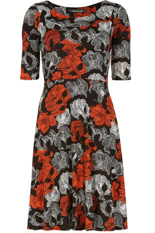 Linear Floral Jersey Fit And Flare Dress