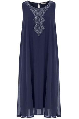 Sleeveless Embroidered Neck Detail Dress