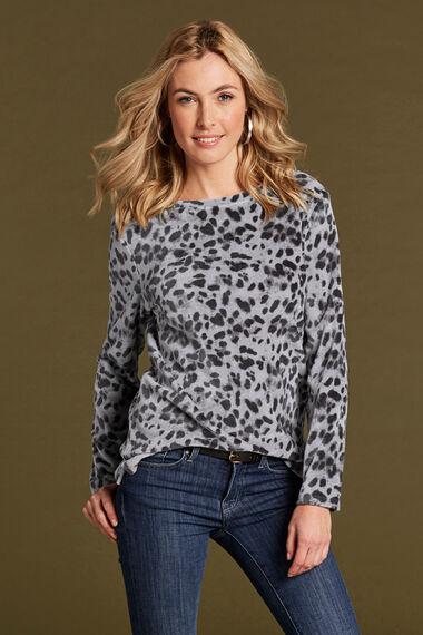 Animal Print Crew Neck Sweater Top