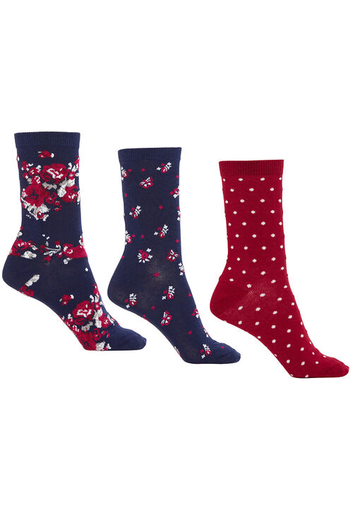 Floral and Polka Dot 3 Pack Socks