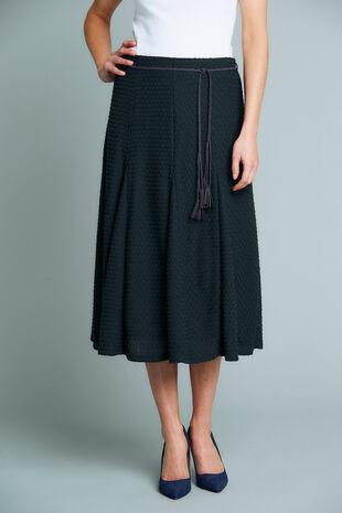 Textured Navy Skirt With Belt