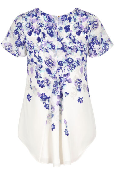 David Emanuel 3/4 Sleeve Floral Double Layer Blouse