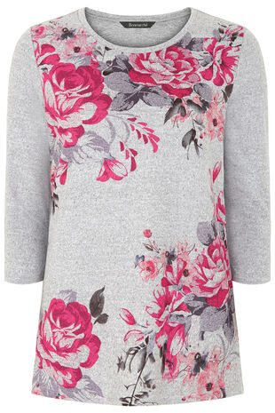 Rose Placement Print Sweater