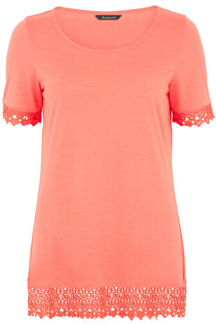 Short Sleeve Top With Lace Trim