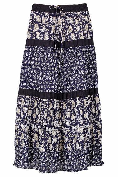 Tiered Mono Print Skirt