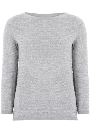 Soft Touch Textured Boat Neck Jumper