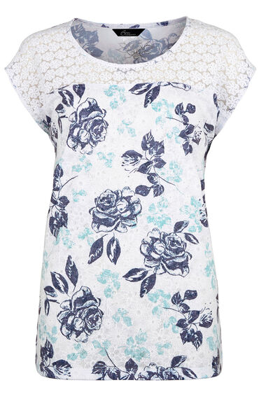 Floral Lace Detail T-Shirt