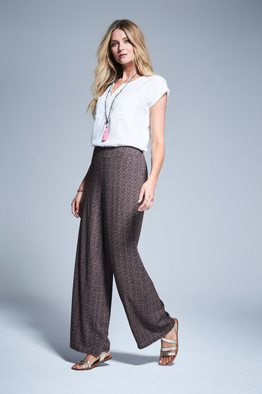 Tile Print Palazzo Trousers