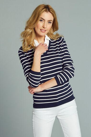 Stripe Mock Shirt Insert Jumper