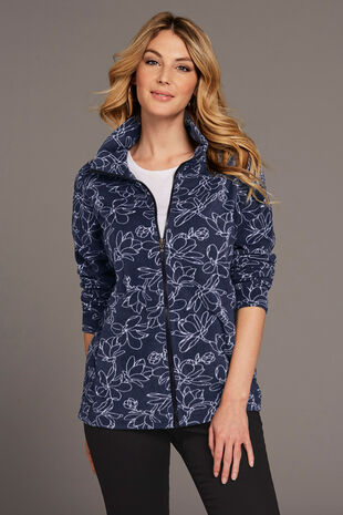 Printed Zip Thru Fleece