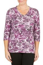 Studded Detail Floral Print T-Shirt