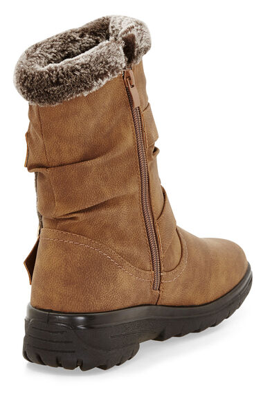 Cushion Walk Calf Length Boot with Faux Fur Trim