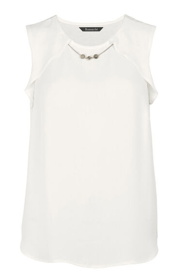 David Emanuel Sleeveless Shell Blouse With Necklace