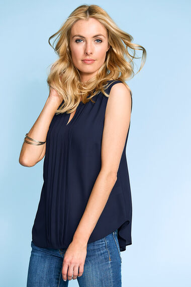 Sleeveless Plain Pleat Front Blouse