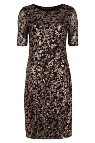 Lace And Sequin Side Pleat Dress