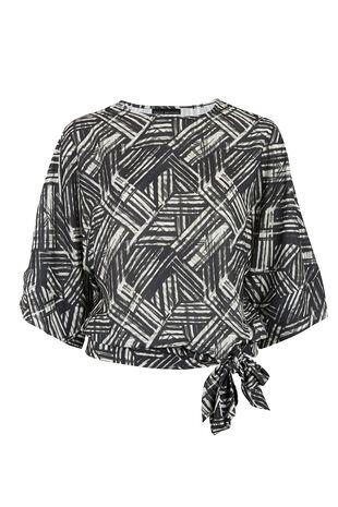 David Emanuel Stripe Print Tie Detail Kimono Blouse