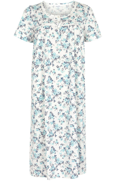 Aqua Floral Lace Neck Nightdress