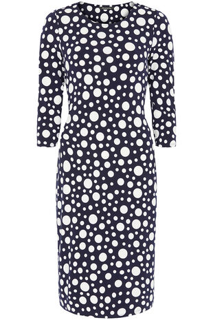 Spot Print Belted Dress