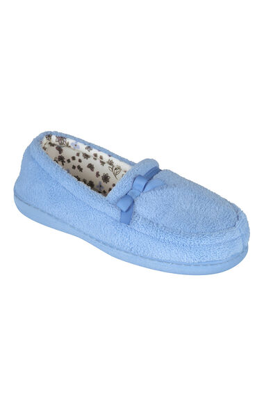 Satin Trim Moccasin Slippers With Printed Lining