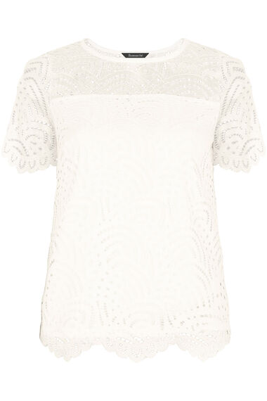 Short Sleeve Lace Shell Top