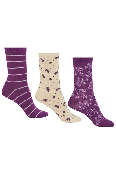 Stripe Floral Jacquard 3 Pack Sock