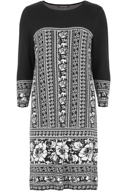 Jacquard Print Knitted Dress