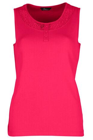 Printed Lace Insert Vest