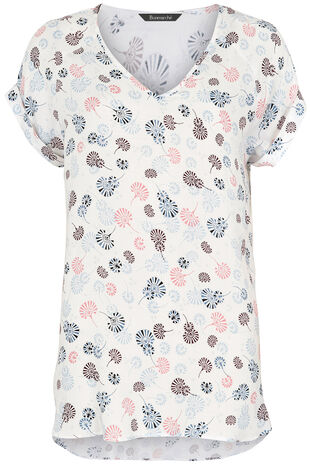 Short Sleeve Woven Oriental Print Top