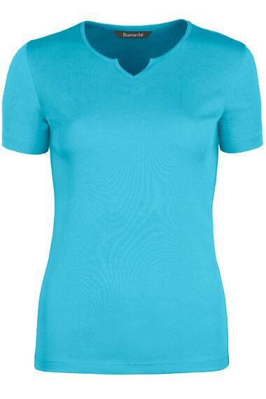 Basic Cotton Notch Neck T-Shirt