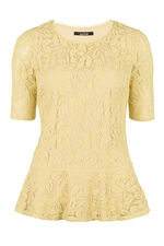 David Emanuel Lace Peplum Top