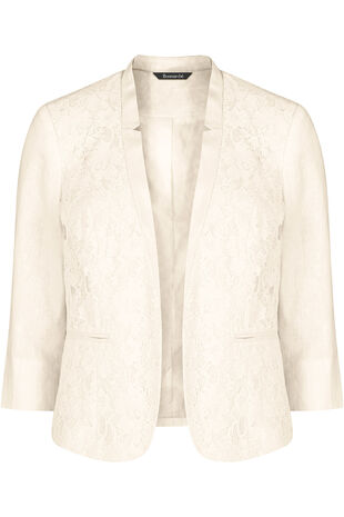 Linen Mix Jacket With Lace