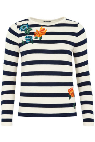 Stripe Jumper with Floral Embroidery