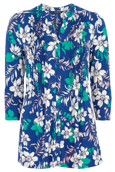 Linear Floral Print Pintuck Jersey Top