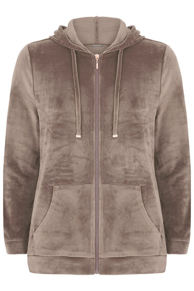 Velour Zip Thru Hoody