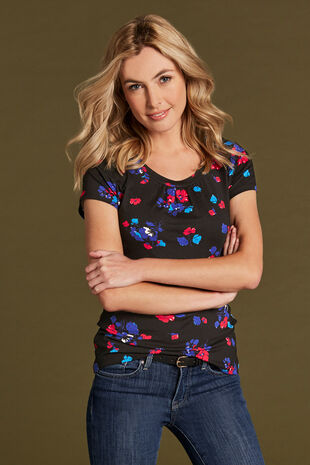 Spaced Floral Scoop Neck Top