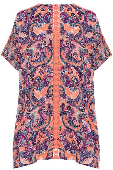 Paisley Print Lace Kimono