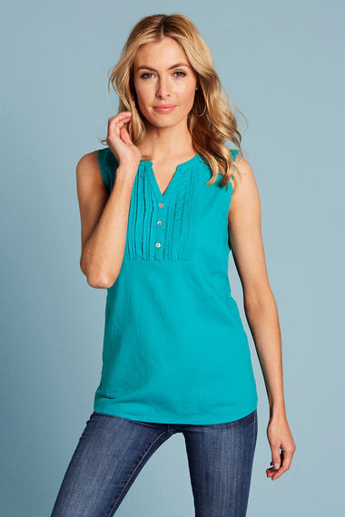 Sleeveless Linen Blend Top With Tie Detail