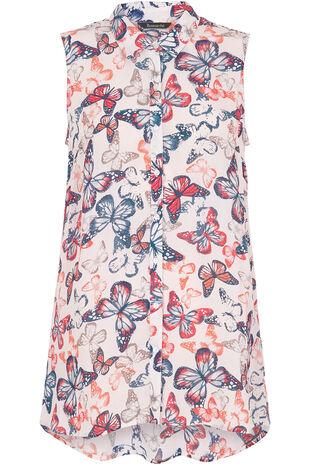 Butterfly Print Sleeveless Shirt