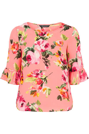 Pink Floral Print Fluted Sleeve Top