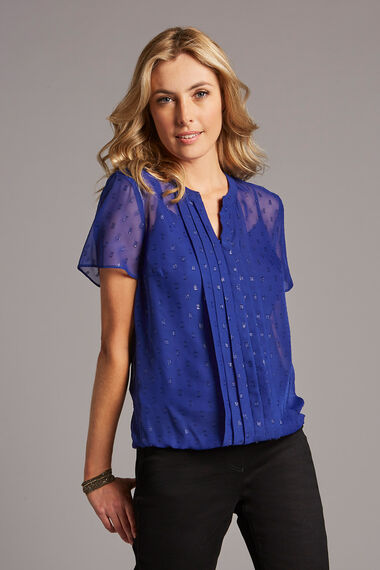 Glitter Textured Pleat Front Blouse