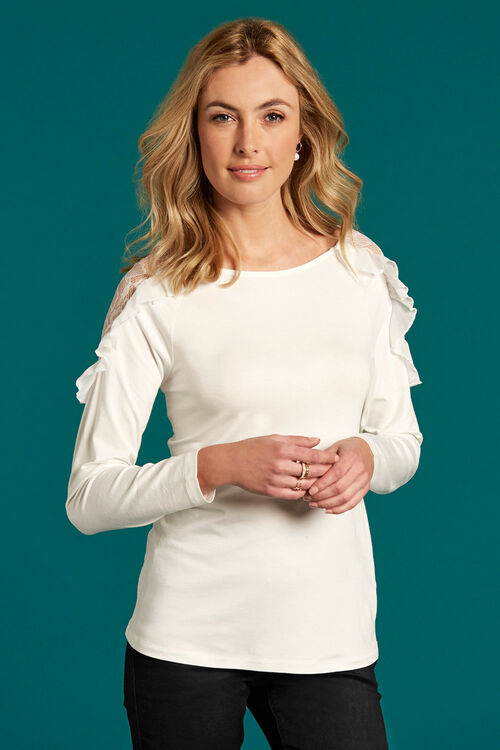 Lace Shoulder Top With Ruffle Detail