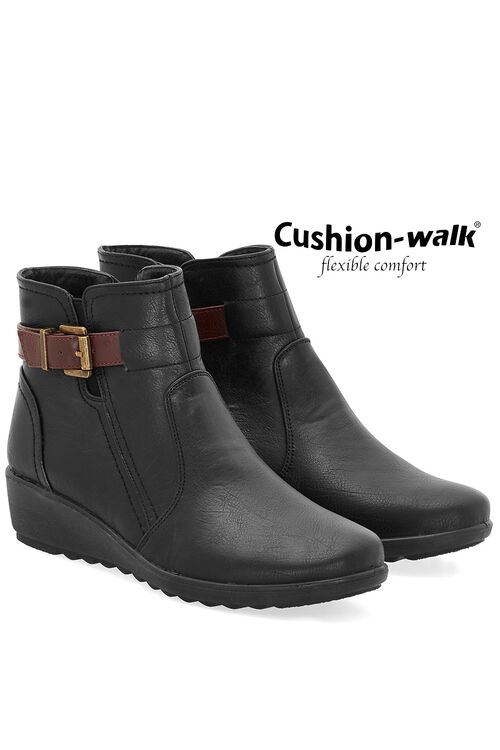 Cushion Walk Buckle Detail Ankle Boot