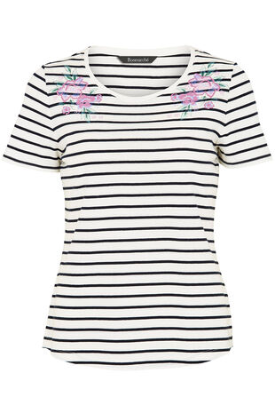 Mirror Bubble Print Stripe T-Shirt