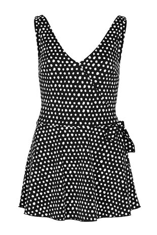 Smudge Spot Print Wrap Swim Dress