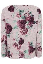 Large Floral Print Crew Neck