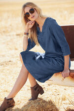 Notch Neck Denim Dress