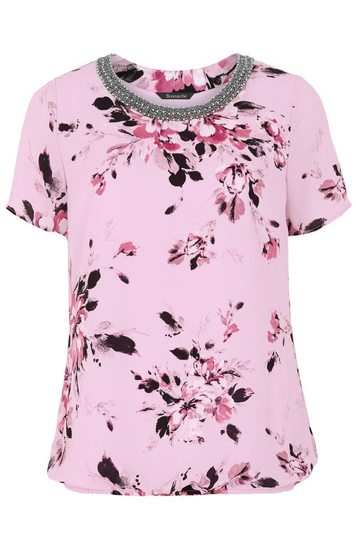 Floral Printed Top With Embellished Neckline