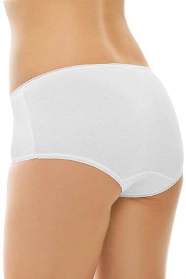 Pack Of 5 Plain White Cotton Full Briefs