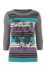 Stripe Print Boatneck T-Shirt