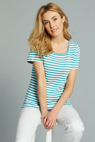 Square Neck Triple Stripe T-Shirt